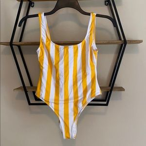 Striped yellow and white one piece